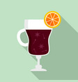 mulled wine glass icon flat style vector image vector image