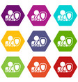 oken arm and safety shield icon set color vector image vector image