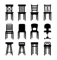 Old Modern Office and Bar Chairs Set vector image vector image