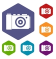 Photo camera icons set vector image vector image