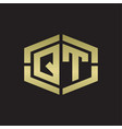 qt logo monogram with hexagon shape and piece vector image vector image