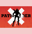 robot pathfindersilhouette vector image vector image