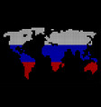 russia colors dot world map vector image vector image
