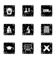 Schooling icons set grunge style vector image vector image