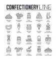 set confectionary thin line icons pictograms vector image