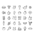 Set of food and drinks icons for restaurant vector image vector image
