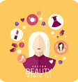 Shopping woman and makeup icons flat vector image