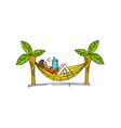 Side view of boy sitting in swing vector image vector image