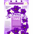 springtime holidays card with spring flowers vector image vector image