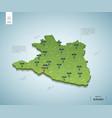 stylized map burundi isometric 3d green map vector image vector image