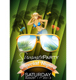 summer beach party flyer design with sexy girl vector image vector image