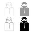 the man incognito in a mask the black and grey vector image