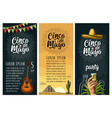 three vertical poster for cinco de mayo vector image vector image