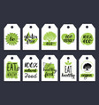 vegan healthy food cards or tags set for cafe vector image