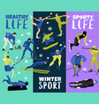 winter sports vertical banners vector image vector image