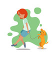 woman girl walking with dog retriever labrador vector image
