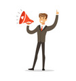 young businessman with loudspeaker vector image