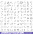 100 online workshop icons set outline style vector image