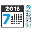 2016 Week Calendar Flat Icon With Bonus vector image vector image