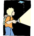 a boy with a flash light vector image