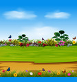 a nature scene with the beautiful garden flowers vector image vector image