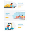 airline travel web service site template vector image