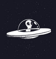alien in a flying saucer vector image