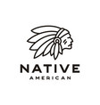 american native indian chief headdress line art vector image vector image