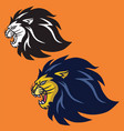 angry lion set retro logo design vector image vector image