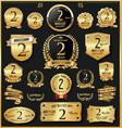 anniversary retro vintage golden badges vector image vector image