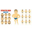 athletic man face set cartoon character vector image vector image