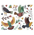 birds and forest design elements vector image