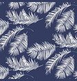 blue and white palm leaves pattern vector image