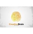 Brain logo design Creative brain Grunge style vector image vector image