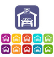 car parking icons set vector image vector image