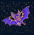 cartoon halloween vampire bat on starry night sky vector image vector image
