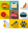 cat toys icon set flat style vector image vector image
