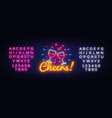 cheers neon sign wine party celebration vector image vector image