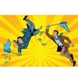 Competition two businessmen catching money with a vector image vector image