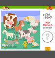 count farm animals activity game vector image vector image