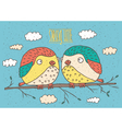 Couple of birds and Spring Time vector image