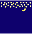dark night background yellow stars and moon on vector image vector image