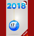 decorated bingo ball and date with santa hat vector image vector image