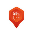 discount pointer or marker icon 50 percent sale vector image vector image