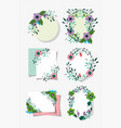 flowers foliage floral wreath labels decoration vector image