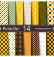 fourteen different round shape polka dot seamless vector image