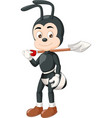funny black ant wearing brown shoes with shovel vector image vector image