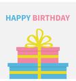 Gift box set with ribbon and bow Present giftbox vector image