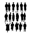 graduation activity silhouettes vector image vector image