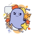 Halloween kawaii print or card with cute doodle vector image vector image